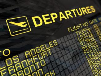 Flughafen Anzeige für Abflüge